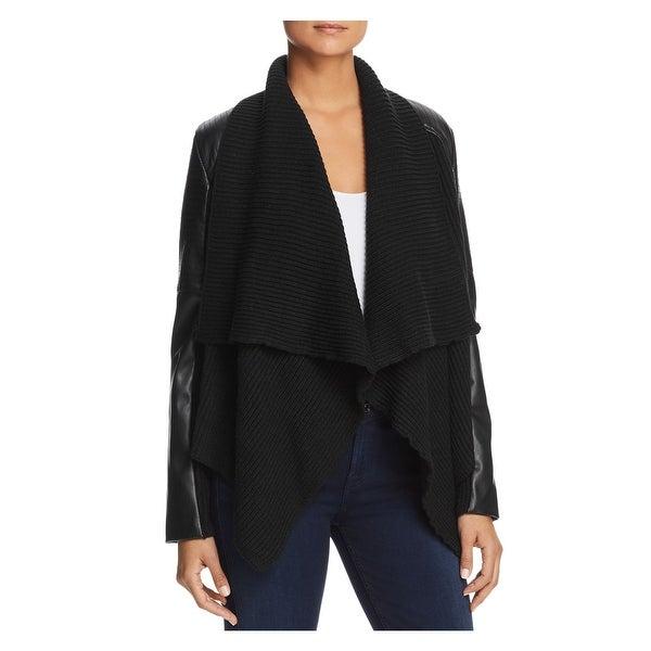 BAGATELLE Womens Black Mixed Media Draped Open Cardigan Jacket Size: L