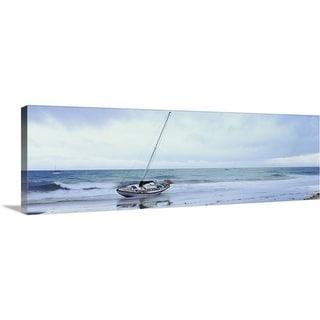 """Sailboat in ocean, Santa Barbara, Santa Barbara County, California"" Canvas Wall Art"