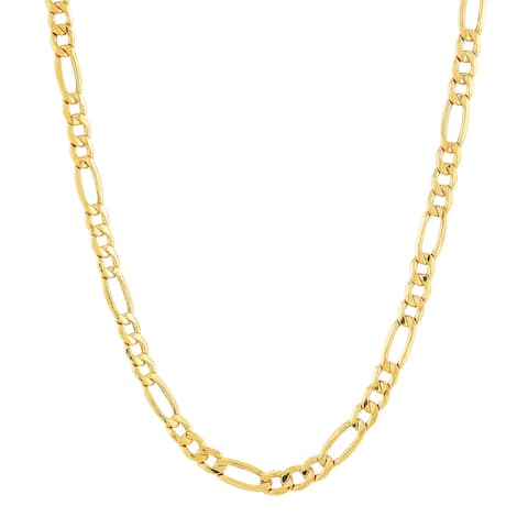 """Men's Italian-Made 3+1 Figaro Link Chain Necklace in 14K Gold, 20"""" - Yellow"""