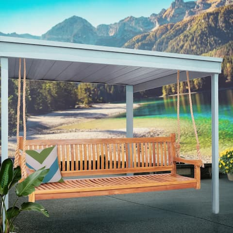 Chic Teak Elzas Teak Wood Outdoor Triple Porch Swing, 71 inch