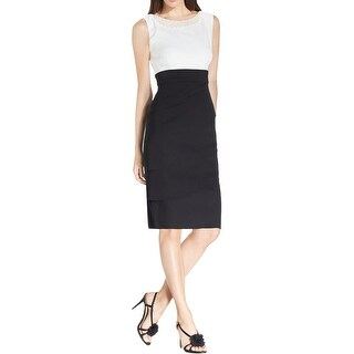 Connected Apparel Womens Petites Wear to Work Dress Embellished Tiered