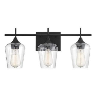 Link to Black Vanity Wall Sconce,  3-Light Fixture with Glass Shades Similar Items in Bathroom Vanity Lights