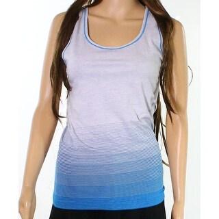 Yummie NEW Gray Blue Womens Size Small S Racerback Line-Print Tank Top