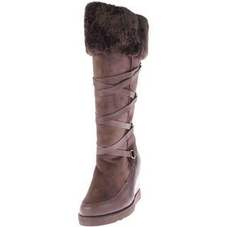 Australia Luxe Womens Moscow Wedge X Tall Knee-High Boots Sheepskin Strappy - 9 medium (b,m)