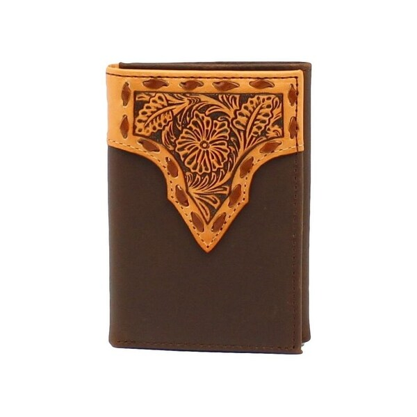 Nocona Western Wallet Mens Trifold Floral Leather Pockets Tan - One size