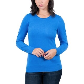 Real Cashmere Cobalt Blue Crewneck Womens Sweater