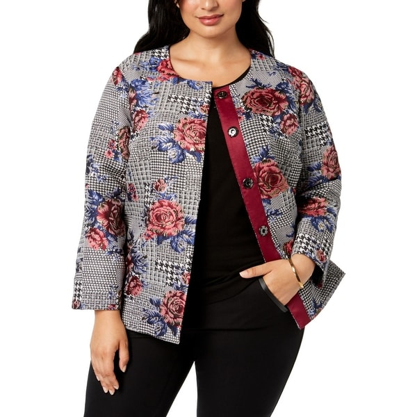 Alfani Womens Jacket Black Size 3X Plus Button Front Floral Print
