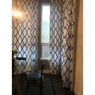 Exclusive Fabrics Pinnacle White & Black Flocked Faux Silk Curtain