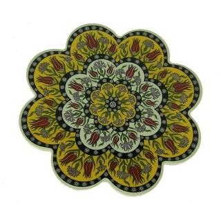 Handmade Flower Shape Turkish Ceramic Pottery Tile Trivet