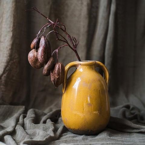 RusticReach Cocoa Stem in Yellow Porcelain Vase Set - Brown