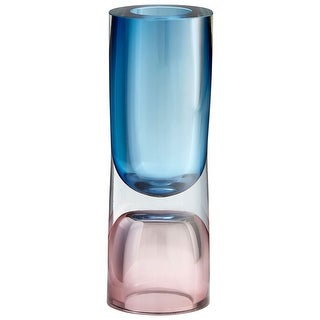 "Cyan Design 10020  Majeure 4"" Diameter Glass Vase - Rose / Blue"