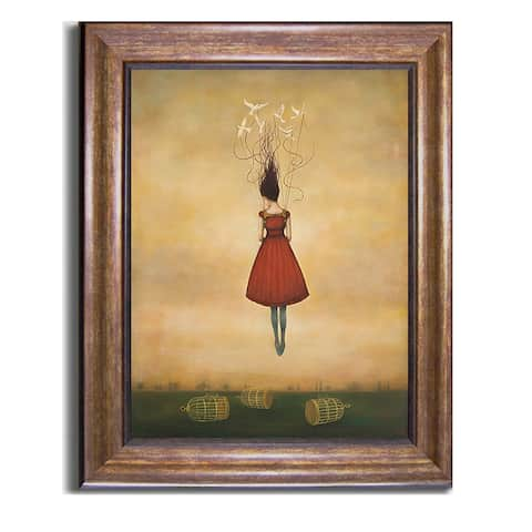 Suspension of Disbelief by Duy Huynh Bronze-Gold Framed Canvas Art (28 in x 22 in Framed Size)