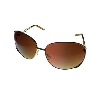 Esprit Womens Sunglass 19239 535 Gold Brown Rectangle Metal, Brown Gradient Lens - M