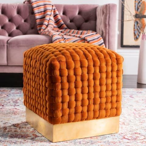 SAFAVIEH Couture Ravyn Woven Velvet Ottoman - Sienna / Gold