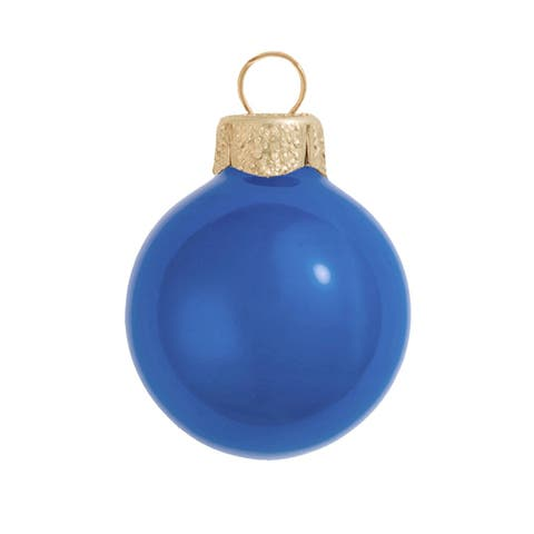 """28ct Pearl Delft Blue Glass Ball Christmas Ornaments 2"""" (50mm) - N/A"""