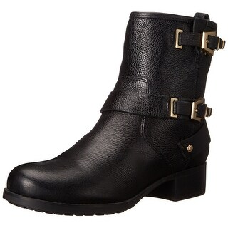Marc Fisher Womens Vienna Leather Closed Toe Mid-Calf Motorcycle Boots