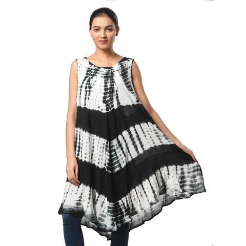 JOVIE Black Stripe White Tie Dye Umbrella Dress One Size Fits Most - (48L x 44W)