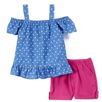 Littoe Potatoes Girls Blue Heart Print Off-Shoulder 2 Pc Shorts Outfit