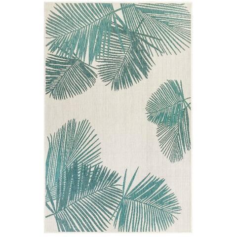 """Liora Manne Carmel Palm Indoor/Outdoor Rug Aqua 7'10"""" x 7'10"""" Square"""