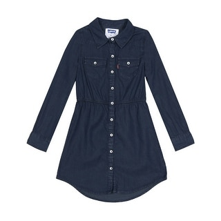 Levi's Girls Long Sleeve Woven Chambray Denim Shirt Dress Dark Navy Blue