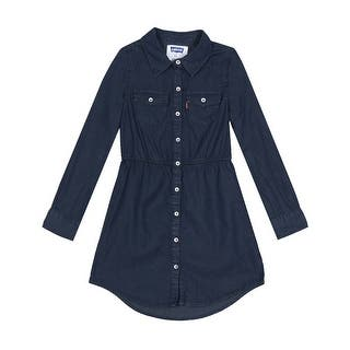 Levi's Girls Long Sleeve Woven Chambray Denim Shirt Dress Dark Navy Blue|https://ak1.ostkcdn.com/images/products/is/images/direct/43653b8f95df83ed5e8f8c20639c09ff1acff0d6/Levi%27s-Girls-Long-Sleeve-Woven-Chambray-Denim-Shirt-Dress-Dark-Navy-Blue.jpg?impolicy=medium