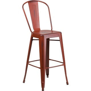 Brimmes 30'' High Distressed Kelly Red Metal Indoor/Outdoor/Patio/Bar Barstool w/Back