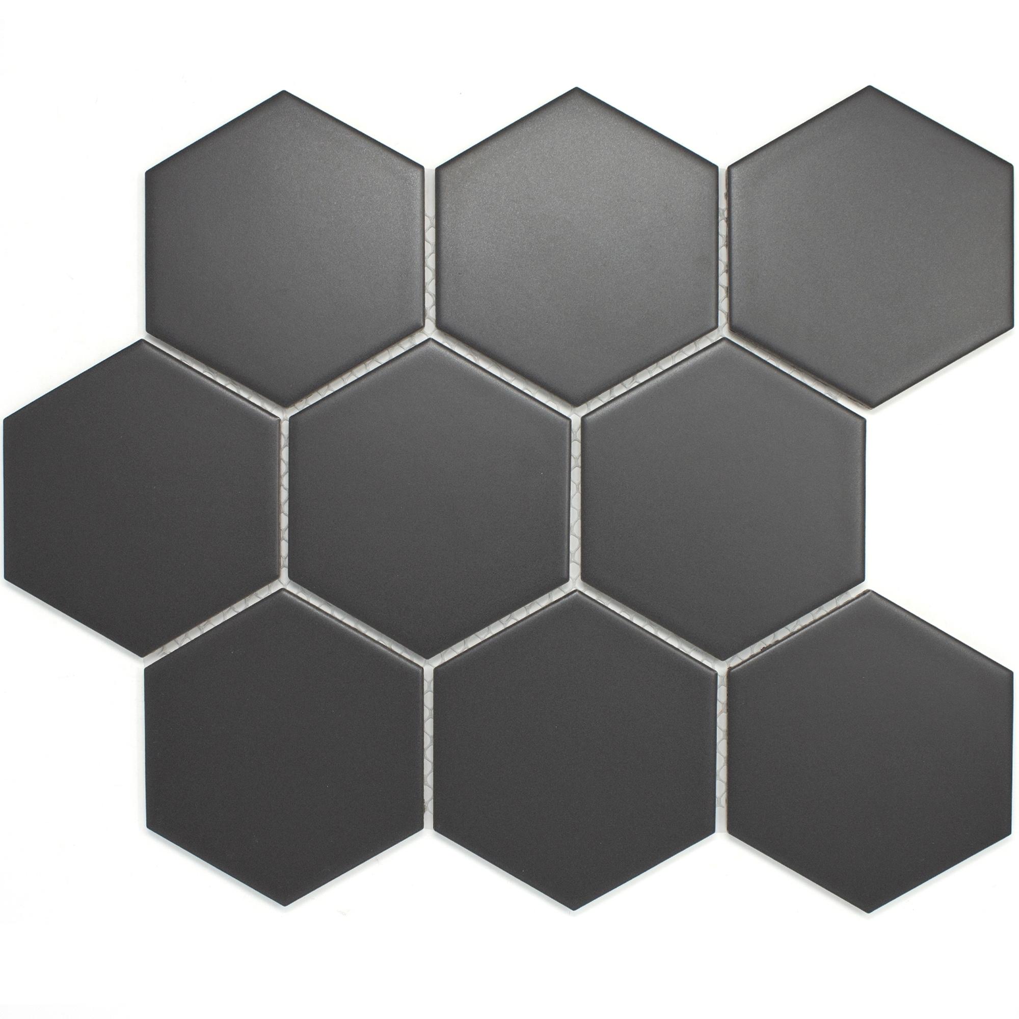 Hexagon Porcelain Tile In Dark Grey