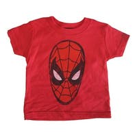 Marvels Baby Girls Red Spiderman Logo Print Crew Neck Cotton T-Shirt 2-4T