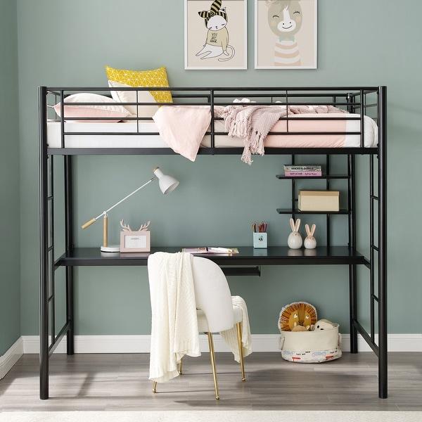 Taylor & Olive Abner Black Metal Twin Loft Bed with Desk. Opens flyout.