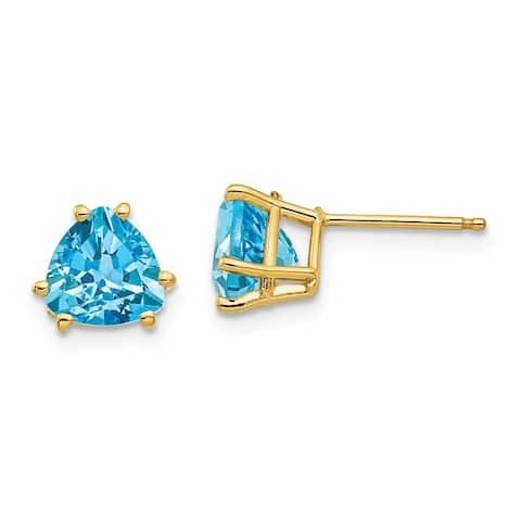 14K Yellow Gold 7mm Trillion Blue Topaz Earrings by Versil