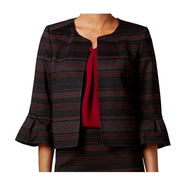 Nine West Black Bordeaux Red Women's 14 Stripe Ruffle Cuff Jacket