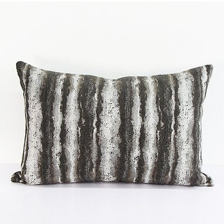 G Home Collection Luxury Brown Mix Color Stripe Pattern  Metallic Chenille Pillow 14X20 (c-down feather insert)