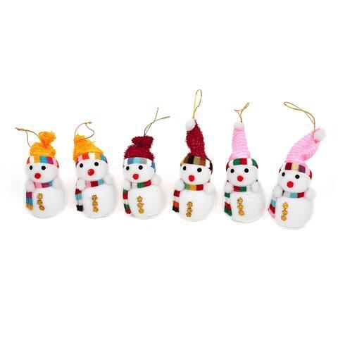 Unique Bargains Home Christmas Trees Hanging Snowflake Detail Xmas Snowman Pendant White 6 Pcs