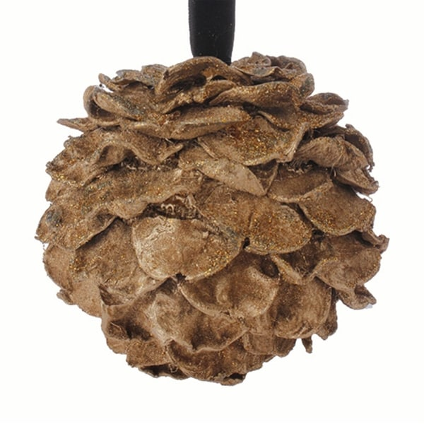 """5"""" Rich Elegance Brown and Gold Glitter Pine Cone Christmas Ball Ornament"""