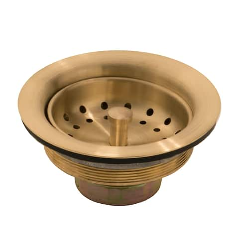 SinkSense Kitchen Sink 3.5 in. Strainer Drain with Post Styled Basket in Satin Gold