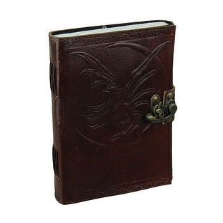 Embossed Leather Crescent Moon Fairy 120 Leaf Diary Journal with Lock - brown