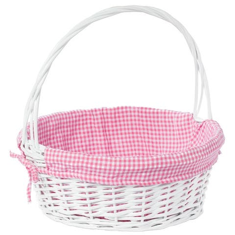 White Round Willow Gift Basket, with Gingham Liner and Handle