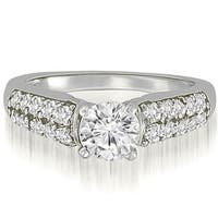 1.35 cttw. 14K White Gold Cathedral Style Round Cut Diamond Engagement Ring