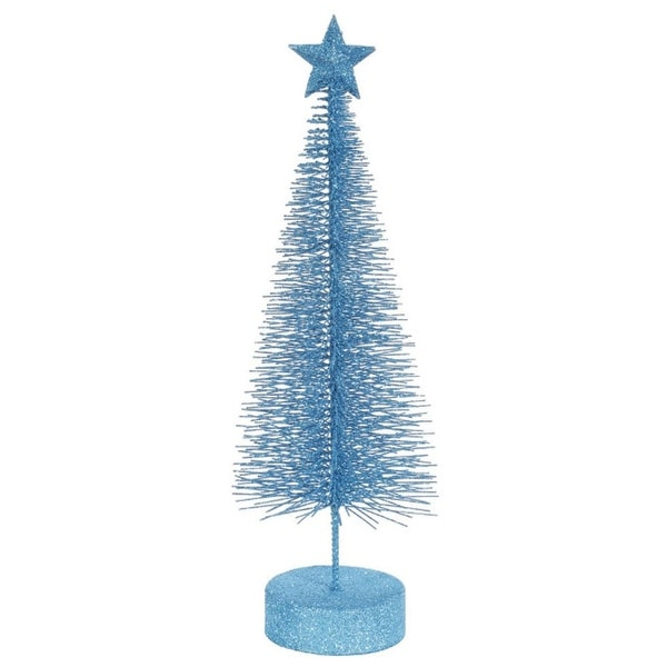 """Pack of 2 Turquoise Blue Glitter Sisal Artificial Table Top Christmas Trees 8"""""""