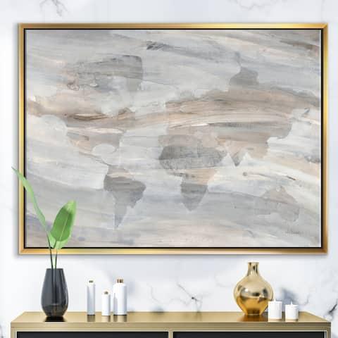 Designart 'Misty World Map' Glam Map Framed Canvas - Grey