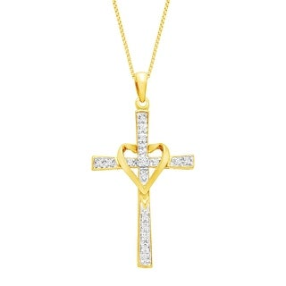 1/10 ct Diamond Cross Necklace with Heart in 14K Gold