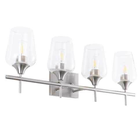 4 Lights Armed Sconce Vanity Lights with Glass Shade, Brushed Nickel