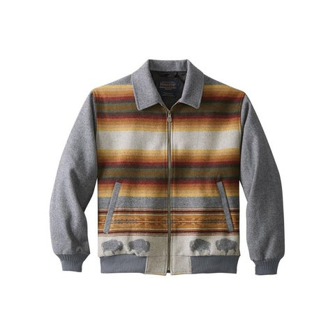 Pendleton Western Coat Mens Jacquard Big Medicine Big Horn Wool Grey