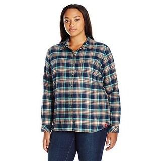 Dickies WomenS Plus Size Long-Sleeve Flannel Shirt, Texas T - texas topez aqua glow plaid