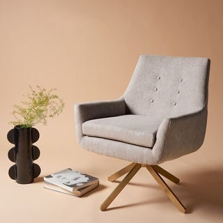 """Link to Safavieh Couture Jayla Linen Swivel Accent Chair - 26.6"""" W x 31.9"""" L x 32.5"""" H - 26.6"""" W x 31.9"""" L x 32.5"""" H Similar Items in Living Room Chairs"""
