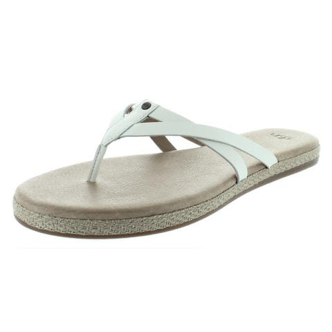 Ugg Womens Annice Flip-Flops Leather Espadrille