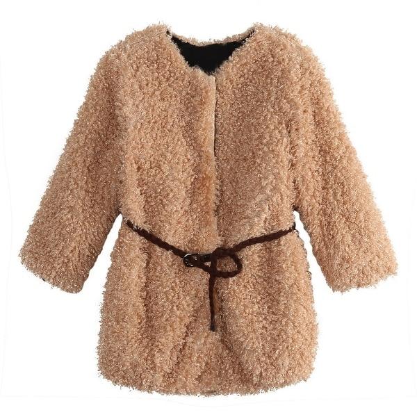 Richie House Baby Girls Cream Braided Belt Retro Shag Jacket 24M - 24 months