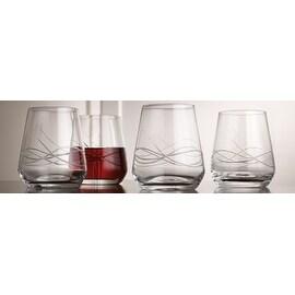 Palais Haut De Gamme Wine & Beverage Glass Collection - Set of 4 (Bangle Cut Stemless, 13 Ounce)