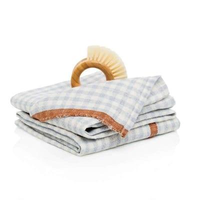 Gingham Blue/Cognac Towels 20x30 - Set of 2