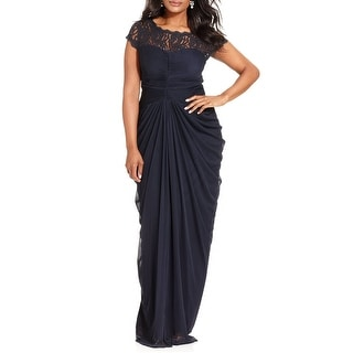 Adrianna Papell Plus Size Illusion Lace Draped Evening Gown Dress